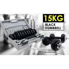 ชุดยกน้ำหนัก ดัมเบล SET 15 KG.เหล็กสีดำ จัดส่งฟรี