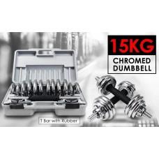 ชุดยกน้ำหนัก ดัมเบล SET 15 KG.CHROMED จัดส่งฟรี